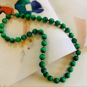 Vintage Green Turquoise Jade Bead Long Necklace